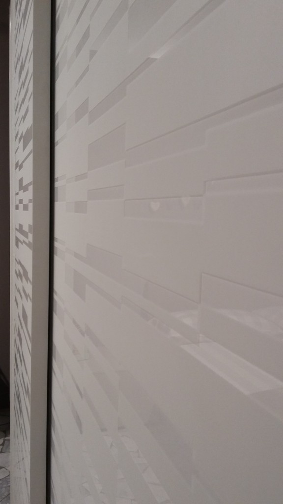 armadio scorrevole Screen in vetro bianco serigrafato