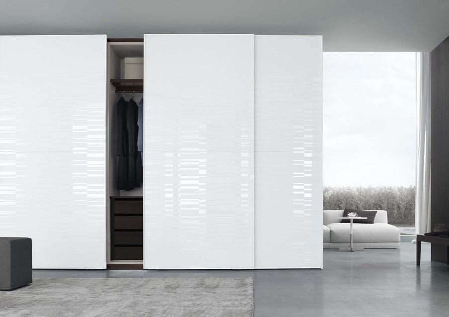 Screen armadio scorrevole bianco vetro serigrafato